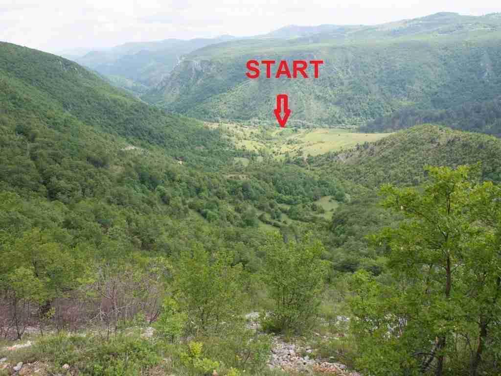 Miejsce startu w dolinie przed 2 kanionem Unaca